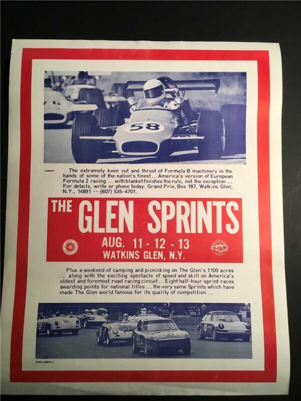 Watkins Glen - Vintage Formula 1 Racing Poster  - The Glen Sprints - Red + Blue