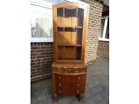 Vintage carved wood display cabinet