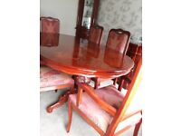 Italian Design Dining Table With 6 Chairs And Matching Sideboard Corner Unit