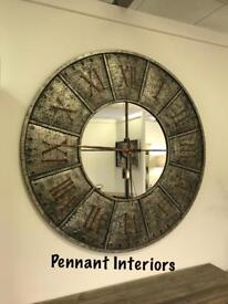 £135 XL Industrial mirrored clock with copper detail Height 120cm Width 120cm Depth 6cm