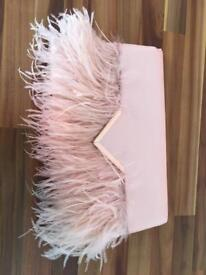 Pale pink/nude feather detail clutch bag
