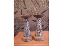 Pair of Ceramic and Wood Candlesticks. Priced to sell @ 10