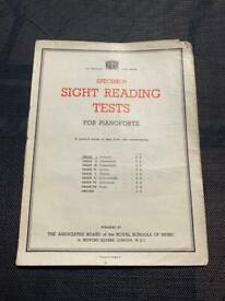 Vintage Royal School Of Music Specimen Sight Reading Tests for Pianoforte Grade 1