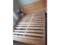 King bed frame oak effect wood