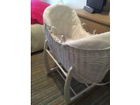Mamas and Papas Moses basket and stand. White. Hardly used. Excellent condition