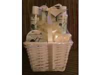 Magnolia Bloom Body care Set. Brand New, Unused & Gift Wrapped in a Wicker Basket.