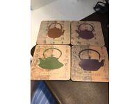 4 Piece Coaster Set Teapot