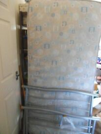 Single bed frame with mattress, base sprung, excellent condition,