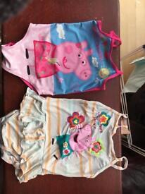2 peppa pig swimsuits