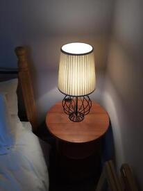 Pair of black wrought iron table lamps