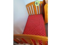 Mamas and papas cot bed and changing table with drawers