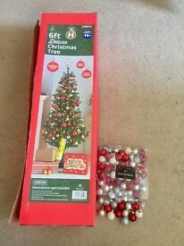 Preloved Christmas Tree (6 Ft) and decorations