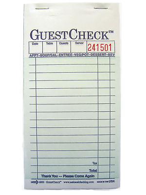 2-Part Carbon Guest Check 10 Books 500 Checks # 6000
