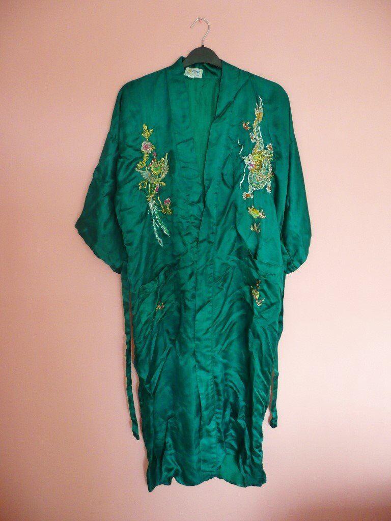 Unisex Mens Womens Esme Made China Silk Kimono Xl Dressing Gown Robe