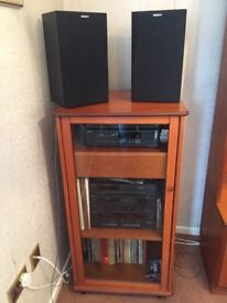 Sony LBT-D 105CD with speakers and teak cabinet