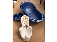 Baby bath, bowl and Winnie the Pooh Bath Seat