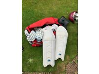 Cricket Pads, Protectors, Bag, Gloves, Used but good condition