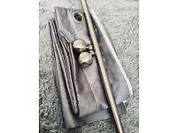 Grey Eyelet Curtain With Pole, Ends & Fixtures