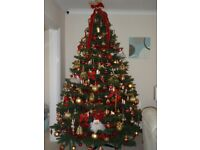 8' Green Christmas Tree, with candle lights, angel and all the decorations, as in photo.