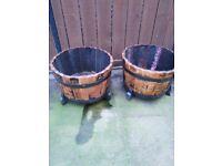 Oak Garden Tubs