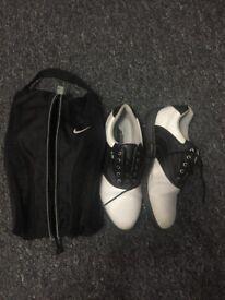 Golf clubs(Wilson) Trolley. Balls. Shoes size 8. Shoe bag.