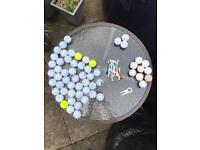 Golf balls, assorted & some tees etc as pictured