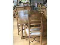 Farmhouse Mango Wood Table And Six Chairs Set