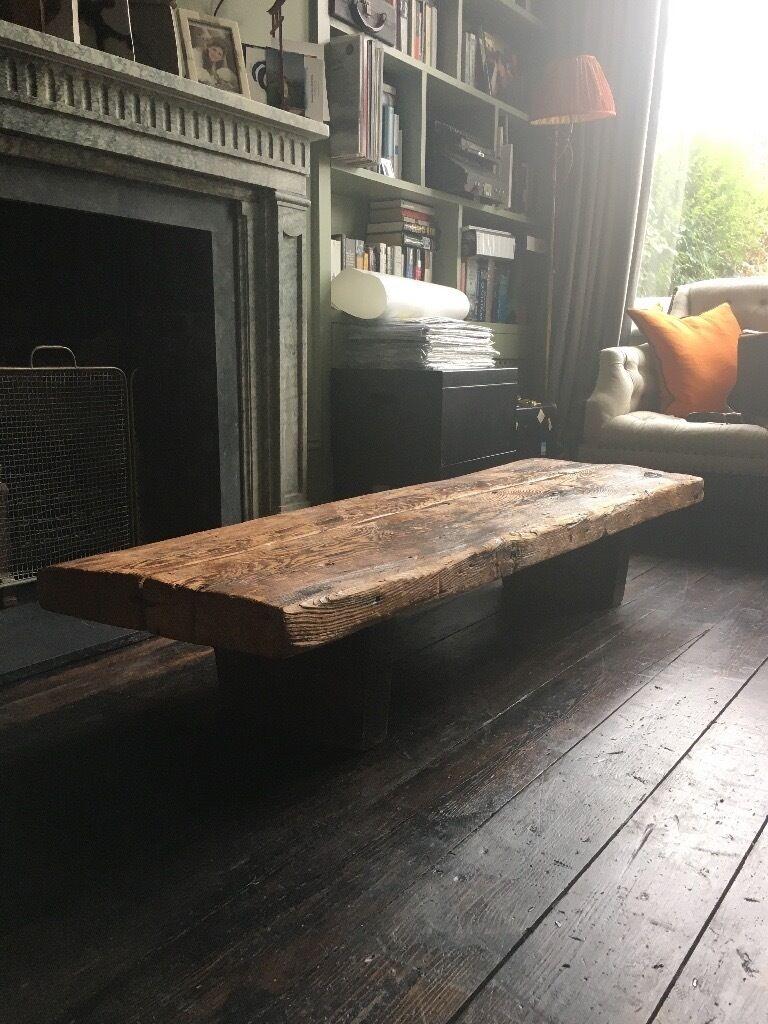 Vintage Coffee Occasional Table Made From Reclaimed Railway Sleepers