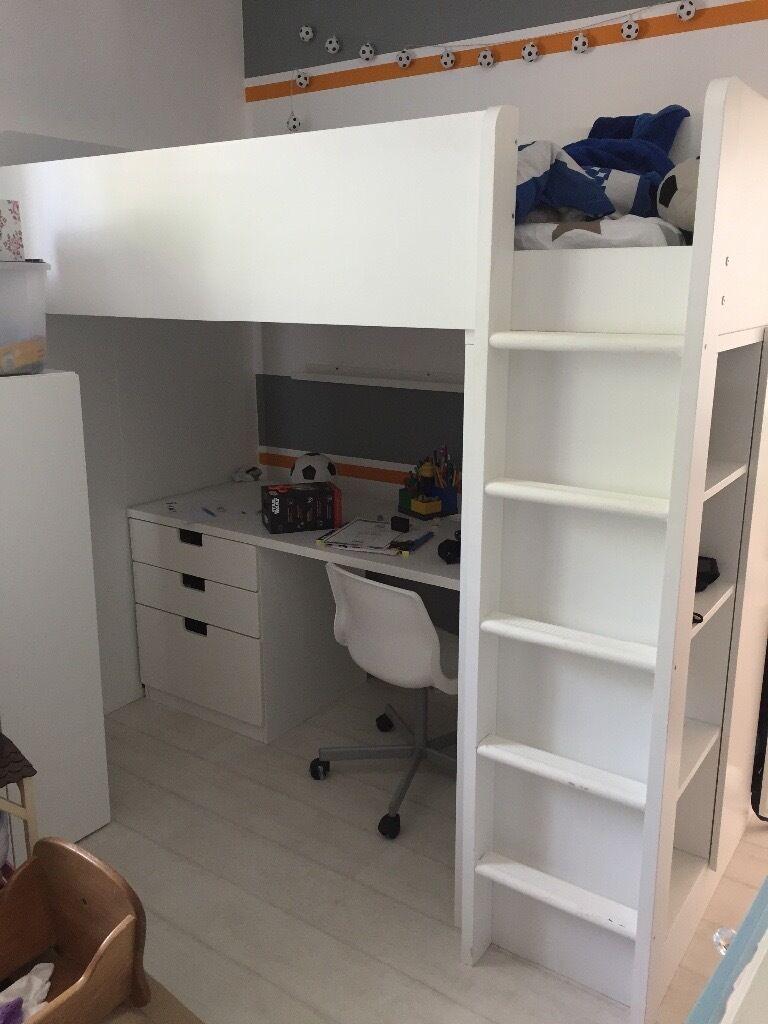 Ikea stuva white loft kids teen bed in stenhouse for Teenage bunk beds ikea
