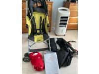 Free mclaren pram, pram rain cover, sleeping bag, pram carry bag, buggy board with attachments