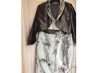 mother of the bride Mireia silver grey/pale green matching dress & jacket