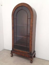 Antique Burr Walnut Arched Top Display Cabinet Ball & Claw Feet. Local Delivery.