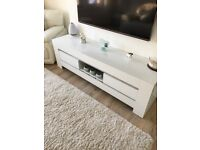 Gloss white under TV unit cost £400.00 sell for £160.00. Phone David 07842 436514
