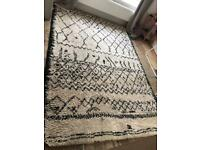 Black and ivory Berber style rug