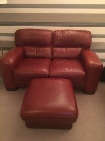 Two leather sofas/footstool/ leather recliner/footstool