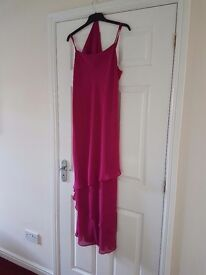 Ladies fuschia pink evening dress with stole (size 12)