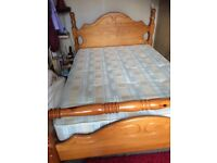 Sturdy pine double bed excellent condition with clean mattress