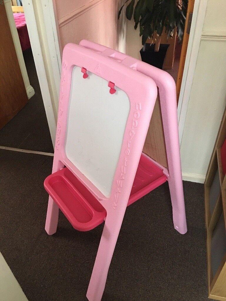 Girl pink floor stand blackboard