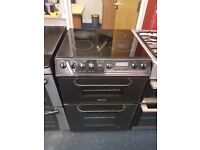 HOTPOINT 60CM CEROMIC TOP ELECTRIC COOKER IN BLACK. R