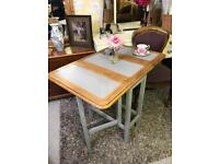 Vintage solid oak gate leg dining table compact size