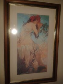 Framed Print 'Summer' by Alfons Mucha - Mounted in dark Frame with Glass. Collection only.