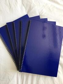 5x A4 hardback Notepads - lined