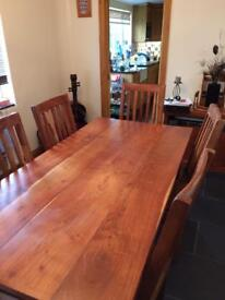 6 Seat Solid Wood dining Table and matching Chairs