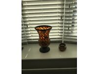 Partylite candle holders cut glass x 2 one large