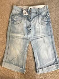 Next Crop Light Wash Jeans Size 10