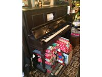 Pianola Wade London Working Condition with Large quantity of Pianola Rolls