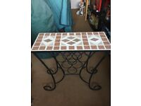 RusticCast Iron Wine Rack with Mosaic TiledTable Top