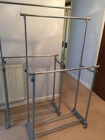 Silver adjustable clothing 2 tier rails as new