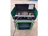 Camping stove + storage unit + patio gas bottle