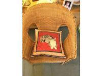 Rattan/bamboo single chair.